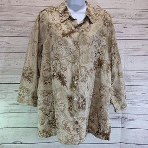 Chico's Linen and Silk Blend Tan & Brown Blouse